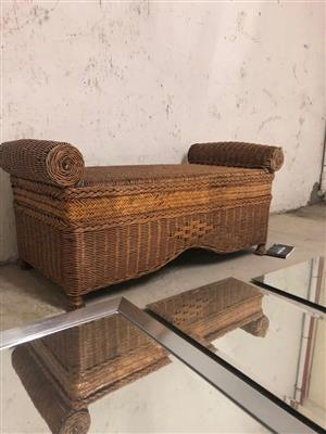 CANE OTTOMAN BOUGHT FROM WEATHERLYS