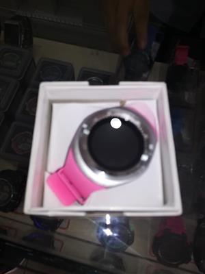 Pink strap silver digi watch