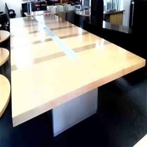 16-18 seat boardroom table plus glass inlay