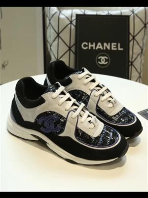 Chanel CC sneakers size UK7, genuine Calfskin & Mixed Fiber