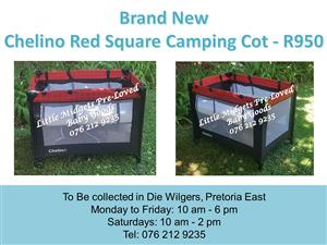 Brand New Chelino Red Square Camping Cot (Mattress available at R350 extra)