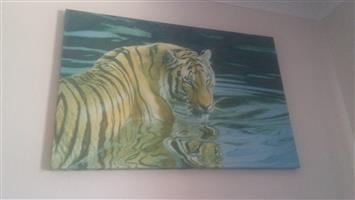 3 Tiger decor items - big wall canvas, dreamcatcher, Wooden wall decor