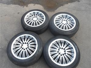 "Mags 15"" with Tyre's 4 off 195/55X15 multi PCD 5x100 and 5x114,3"