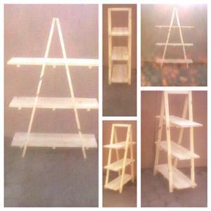 Trestle shelving Single A Frame 3 tier 1670 - Raw