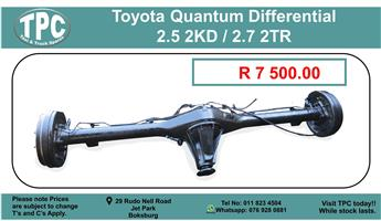 Toyota Quantum Differential 2.5 2Kd / 2.7 2Tr For Sale.