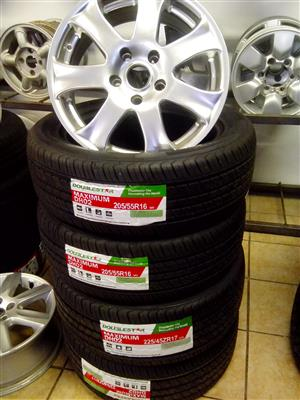 Toyota 16 inch rims with 205/55/16 brand new tyres R6800 set.