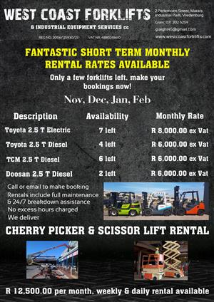 Electric & Diesel Forklifts Monthly Rentals