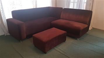 3 piece velvet brown couch