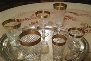 6 exclusive Crystal Wine and Liqueur Glasses,flutes,highball,tumblers; Diamond Pattern with gold rim