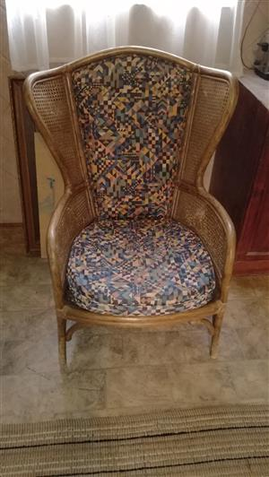 Rattan wingback chair