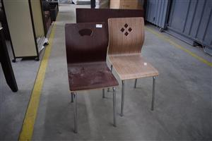 2 Laminated wooden chairs