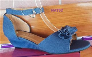 High sole,blue strap open toe shoes