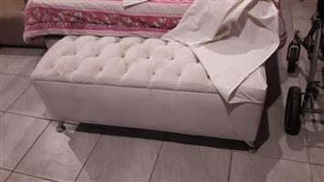 Suede headboard and ottoman for sale
