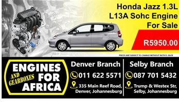Honda Jazz 1.3L L13a Sohc Engine Used For Sale
