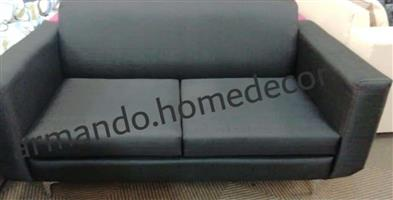 New fabric 2 seater couch with wooden legs. Grey / black / brown