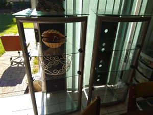 2 Glass shelf stands for sale