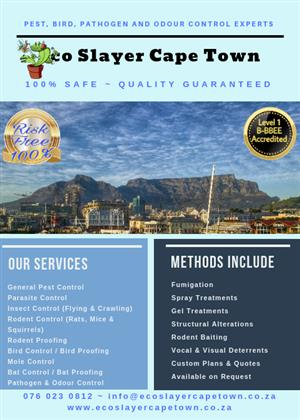 Eco Slayer Cape Town - Pest, Bird, Pathogen & Odour Control - Proven Solutions!