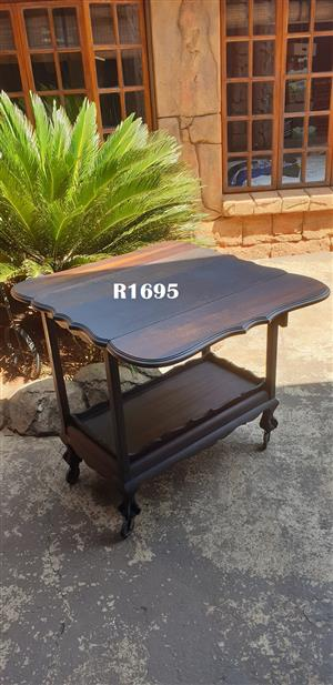 Imbuia Ball and Claw Trolley Drop Leaf Table Combination (830x520x795( (830x900x795)