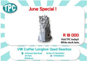 VW Crafter Long box Used Gearbox for Sale at TPC