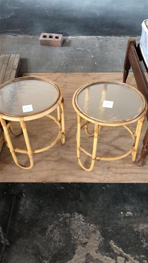 Mini cane glass top round side tables