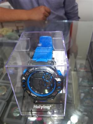 Blue and black watch for sale