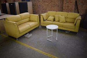 Yellow leather 2 piece lounge suite