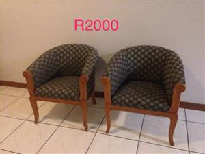 2 Wooden waiting chairs for sale