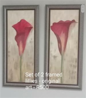 Set of original art 2 framed lillies.