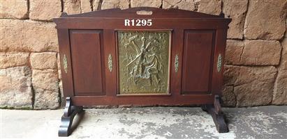 Antique Imbuia and Brass Fire Screen (1000x715)