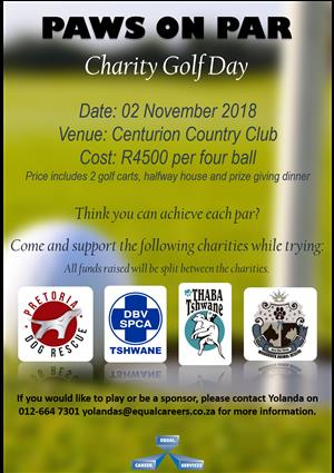 Paws on Par Carity Golf day