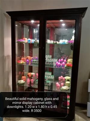 Mahogany glass and mirror display cabinet