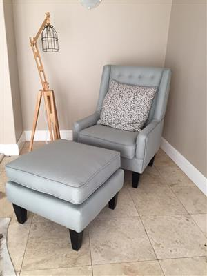Armchair / Feeding Chair and Footstool for Sale - Newly Upholstered, Excellent Condition