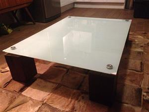 Beautiful Glass and wood coffee table