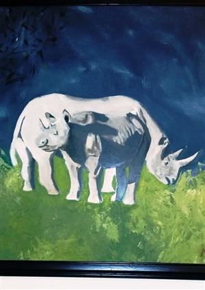 African Rhino Acrylic Painting