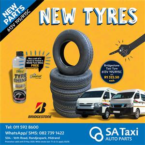 Buy a set of 4 Bridgestone 613V 195/R15C taxi tyres - get a Shield Tyre Shine FREE