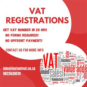 SAME DAY VAT REGISTRATIONS WITH NO UPFRONT PAYMENTS