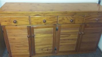 Varnished Pine Server / cupboard