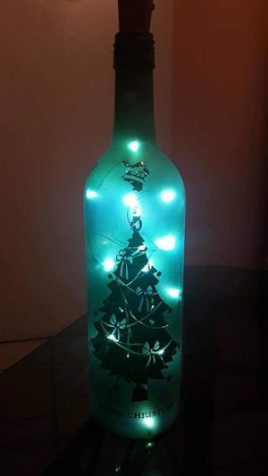 Personalised sandblasted fairy light bottles