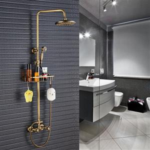 Wall Mounted Shower with Antique Brass Finish