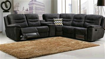 Belinda corner lounge suite sofa set genuine leather uppers with electric motion, wireless/speaker