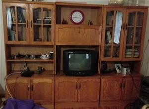 Oak TV/Wall unit