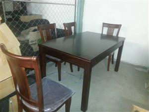4 Seater dark wooden dining set