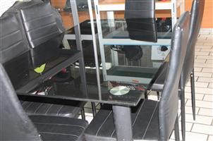 7 piece glass top dining room suite S031556A #Rosettenvillepawnshop