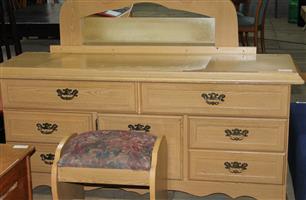 Oak dressing table with chair S032718B #Rosettenvillepawnshop