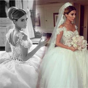 Glitz Off The Shoulder Ball Gown Lace Wedding Dress (2-22w)