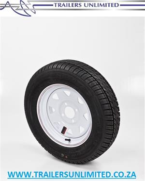 "TRAILER AND CARAVAN TYRES. 13"" RIM AND TYRE COMBO.   4 STUD - 100 PCD SPECIAL PRICE. R708.50 EXCL."