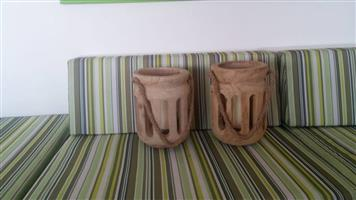Wooden hanging candle holders