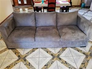 3 Seater brown suede couch for sale