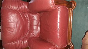 Solid wood/leather lounge suite