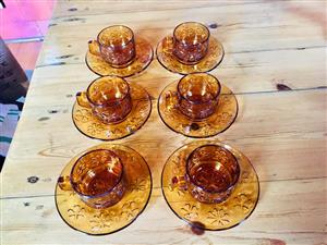 Amber x 6 - Cuppachino Cups & Saucers with Flower Design